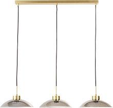 Lámpara de techo triple de metal dorado y cristal