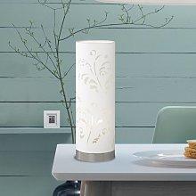 Lámpara de techo tubular Flora blanca con adorno