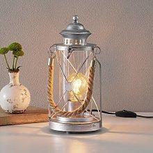 Lámpara farol de sobremesa Kirian plata antigua