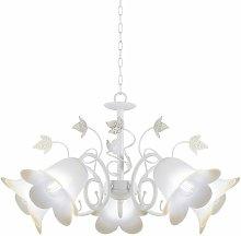 Lámpara forja blanca BORGO 5 luces en promoción