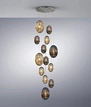 Lámpara grande 13 luces tonos smoke y coñac OVILA
