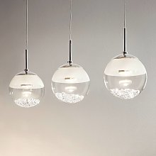 Lámpara LED colgante alargada Montefio, cristal