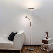 Lámpara LED de pie Malea con luz lectura, níquel