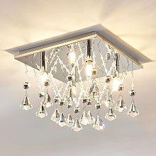 Lámpara LED de techo Saori de cristal brillante