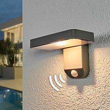 Lámpara LED solar Maik, sensor, montaje en pared