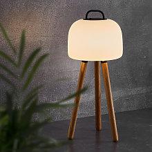 Lámpara mesa LED Kettle Tripod madera, tulipa 22cm