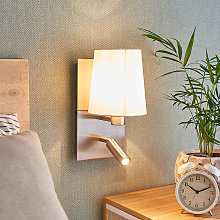 Lámpara pared Aiden luz lectura LED blanco níquel