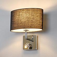 Lámpara pared tela negra Karla lámpara lectura