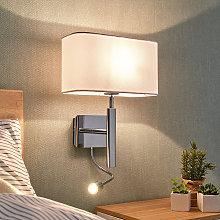 Lámpara pared textil Jettka con brazo de lectura