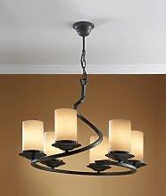 Lámpara rústica hierro forjado negro óxido 6