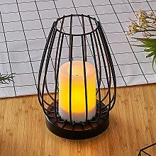 Lámpara solar LED Hannika, efecto vela ámbar