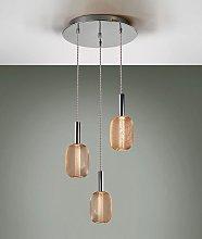 Lámpara techo 3 luces dimable cromo y dorado