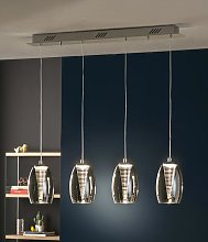 Lámpara techo lineal LED 4 luces cromo NEBULA