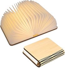 Langray - Lámpara de libro de madera LED,