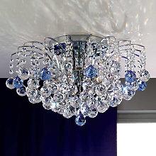 LENNARDA - Lámpara de techo de cristal, azul/cromo