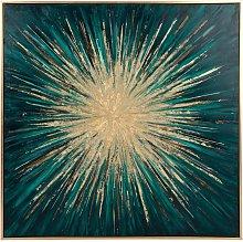 Lienzo pintado en verde y dorado 70x70