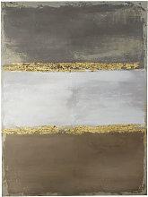 Lienzo pintado gris y dorado 90x120