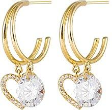 LILOVE Hollow Love Heart Rhinestone Earrings,