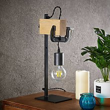 Lindby Asya lámpara de mesa, madera, negro