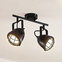 Lindby Biona foco de techo LED, anillo oro, 2 luz