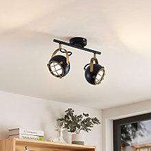 Lindby Dawid foco de techo LED en oro, 2 luces