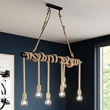Lindby Hajo lámpara colgante, 6 luces, cuerda