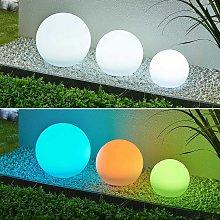 Lindby Lago lámpara LED solar RGBW, set 3 bolas