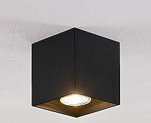 Lindby Parvin downlight aluminio, angular, negra