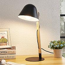 Lindby Tetja lámpara de mesa, barra madera, negro