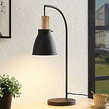 Lindby Trebale lámpara de mesa, detalle de madera
