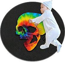 Lindo ronda suave felpa alfombra antideslizante
