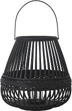 Linterna de bambú trenzado negro