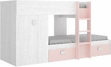 Litera infantil con armario y cajones rosa y