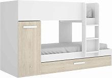 Litera juvenil 3 camas en color blanco y natural