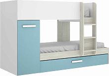 Litera juvenil 3 camas en color gris y esmeralda