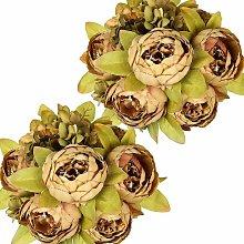 LITZEE 2 piezas de ramo de flores de seda de