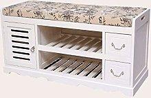LLLKKK Banco de madera maciza para zapatos, banco,