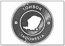 Lombok - Sello vintage, diseño de mapa de Lombok
