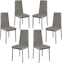 Lote 6 sillas ROMANE negras para comedor GRIS