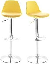Lote de 2 taburetes de diseño amarillos STEEVY