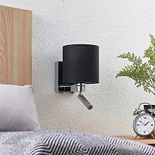 Lucande aplique Brinja, lámpara de lectura negro