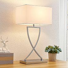 Lucande Evaine lámpara de mesa cromo tulipa blanca