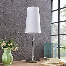 Lucande Pordis lámpara de mesa, blanco cromo