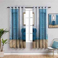 LucaSng Cortinas de Opacas - Azul sofá Sala de