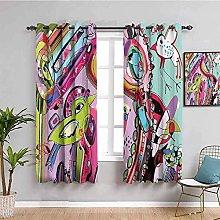 LucaSng Cortinas de Opacas - Colorido abstracto
