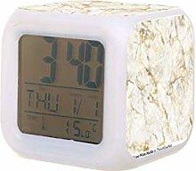 Lujo oro y blanco mármol LED reloj despertador
