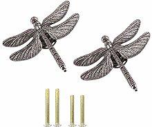 Luluxing - Juego de 2 pomos de libélula de plata