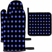 Lunares Azul Oscuro y Negro Guante de Horno y