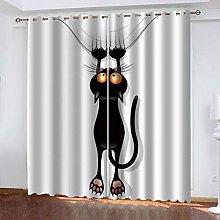 LUOWAN Cortinas Dormitorio Infantil Gato Negro de