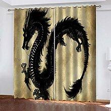LUOWAN Cortinas Dormitorio Tótem del dragón